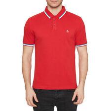 Original Penguin Athletic Tipped Collar Short Sleeve Polo Shirt Samba Red M New