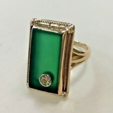 10k Gold Ring with Green Chalcedony and Diamond  Size: 4.5