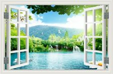 3D Window Swan Lake River Mural Removable Wall Sticker Vinyl Decal Room 51x72CM