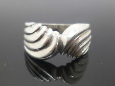 Sterling silver scallop effect wrap design dress ring with silver stamp sized L