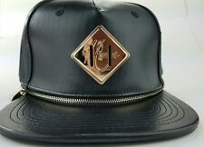 Hater Snapback Hat Interchangeable Lashtab Black Leather Brim Gold Zipper Rare