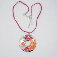 lia sophia jewelry silver tone large circle enamel flower pendant necklace chain
