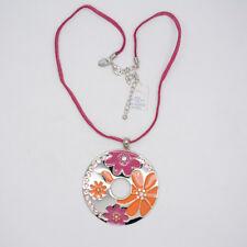 circle enamel flower pendant necklace chain lia sophia jewelry silver tone large