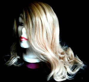 Kalyss Women's Long Blonde Wavy Wig with Highlights
