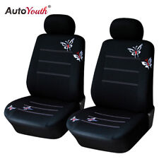 Butterfly Embroidered Pair Front Car Seat Cover Car Seat Protector For Toyota