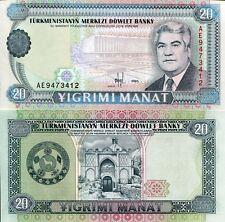 Turkmenistan 20 Manat Banknote World Paper Money Unc Currency Pick p4b 1995 Bill