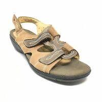 Women's Clarks Unstructured Strappy Wedge Sandals Shoes Size 10 Tan Bronze A7