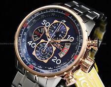 Invicta Aviator 18K Rose Gold Plated Blue Dial Tachy S.S Chrono Bracelet Watch