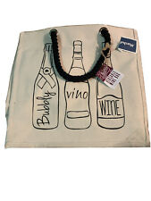 Large Reusable Wine Bottle Bag Tote Holds 6 Bottles