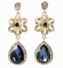 FLOWER AUSTRIAN SAPPHIRE CRYSTAL RHINESTONE CHANDELIER DANGLE EARRINGS WED E2099