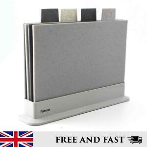 Chopping Boards Grey Set of 4 Fissman Non Slip Dishwasher Safe Colour Coded