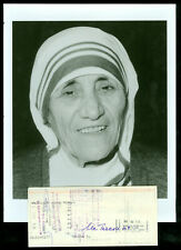 1989 MOTHER TERESA AUTOGRAPHED CHECK WITH 8 X 10 PHOTO RARE .