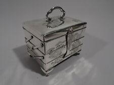 Antique Box - Tiered Jewelry Keepsake Casket - Japanese Silver - Meiji C 1920