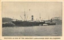 COOS BAY Land-Locked Deep Sea Harbor Oregon Steamships Vintage Postcard