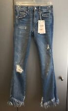Ladies ZARA Denim Crop Flare Distressed Jeans Size EUR32 BNWT RRP £39.95