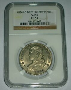 1834 Large Date Capped Bust Half Dollar NGC - AU 53