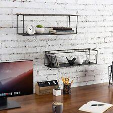 Black Metal Framed Wall-Mounted Rectangular Display Boxes Shelves, Set of 2