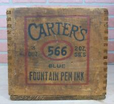 Antique CARTER'S FOUNTAIN PEN INK Dovetail Wooden Crate Box CARTER INX PRODUCTS