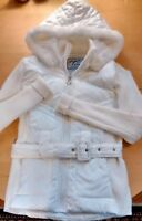 Ashley Quilted Puffer Coat Junior Large Hooded Ribbed Faux Fur