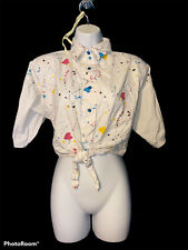 Vintage 70s Tie Front Wrap Crop Top Blouse multicolor