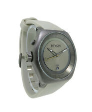 Nixon A271 656 Decision Men's Round Bone Pewter Analog Timer Date Silicone Watch