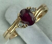 Chic Vintage Original Rose Gold 585 14K Ring With Natural Ruby And Diamond