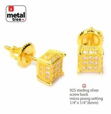 Men's 925 Silver in 14k Gold Plated Pave 3D Cube Screw Back Stud Earrings 461 G