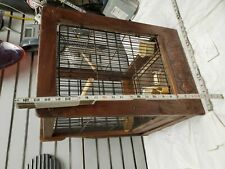 Antique Bird Cage Wooden Primitive Folk Swing Feeder Bath ceramic Inserts 23x16x