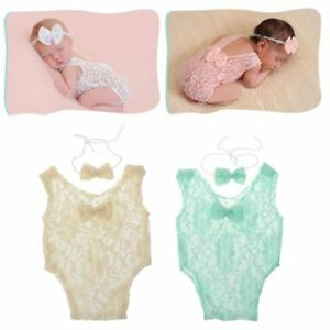 2Pcs Baby Photography Props Backless Hollow Bowknot Lace Romper Newborn Outfit