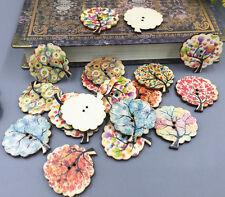 20pcs Mix Tree Shape Wooden Sewing buttons scrapbooking craft DIY 30mm