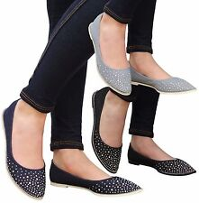 Ladies Womens Flats Casual Slip On Ballet Loafers Denim Office Pumps Shoes Size