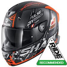 SHARK SKWAL 2.2 noxxys Matt negro/naranja LED Cara Completa Casco De Motocicleta Ze