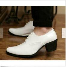 Men's Pointed Toe Patent Leather Dress Formal Lace Up Cuban Heel  White Shoes