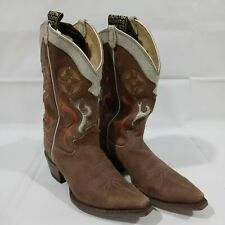 Vintage JUSTIN Brown Suede Inlay Cowboy Boots Womens Size 7 B - L6307