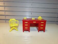 Vintage 1950's RELIABLE Dollhouse Furniture Red & Yellow DESK & SWIVEL CHAIR