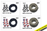 33FT Braided PTFE Fuel Hose E85 /10 Fittings Kit / 6AN 8AN 10AN