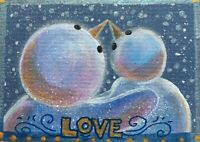 Snowmen Valentine Love ACEO Original Miniature Painting  Cape Cod Artist