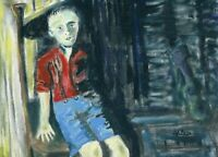 HINKLE Coal Miner Child portrait outsider folk art oil Painting contemporary