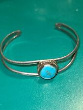 Lovely Sleeping Beauty Turquoise Sterling Silver Navajo Cuff Bracelet