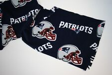 NEW ENGLAND PATRIOTS PRINTED BLUE FLEECE SCARF-ADULTS/KIDS 9X60 FRINGE ENDS
