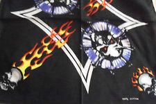 "FIRE BLACK ORANGE WHITE SKULL HEADS COTTON BANDANA SCARF 20"" HAIR HEAD WRAP"
