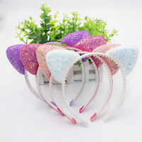 Cute Girls Sequins Cat Ears Cartoon Headband Hairband For Women Accessories A8A