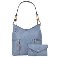 2 Pcs Women Handbag Faux Leather Hobo Tote Shoulder Bag Satchel w/ Purse