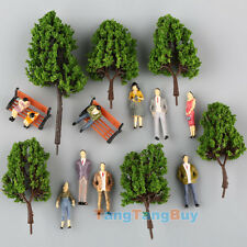16 Multi Scale Model Trees, 100 People Figures, 5 Bench Train Diorama Scenery