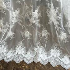 1 Yard 3D Flower Embroidery Corded Lace Fabric Material DIY Wedding Bridal Dress