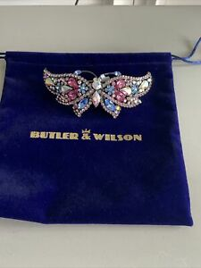 BUTLER & WILSON BUTTERFLY PINK BLUE  CLEAR CRYSTALS HAIR BARRETTE  NEW