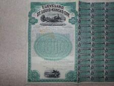 1898 Cleveland,St.Louis and Kansas City Railway Co. $1000 Gold Bond FBNC