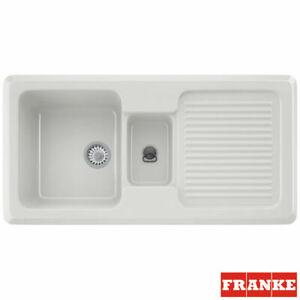 Franke By V&B 1.5 Bowl Gloss White Ceramic Kitchen Sink VBK651 RHD 124.0049.873