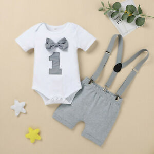 Infant Baby Boy Bow Tie Romper Bodysuit Funny First Birthday Clothes Outfits Set