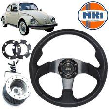 Volkswagen Beetle 1974> 340mm Black Alloy Motorsport Steering Wheel  Boss Kit